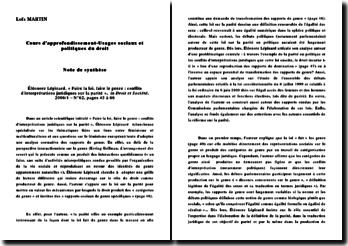 Droit et Société: faire la loi, faire le genre : conflits d'interprétations juridiques sur la parité- Eléonore Lépinard