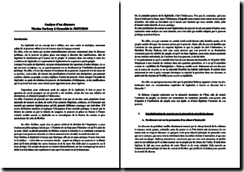 Analyse d'un discours Nicolas Sarkozy à Grenoble le 30/07/2010