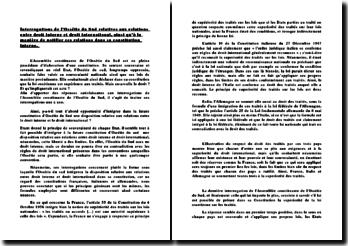 Interrogations de l'Ossétie du Sud relatives aux relations entre droit interne et droit international, ainsi qu'à la manière de notifier ces relations dans sa constitution interne