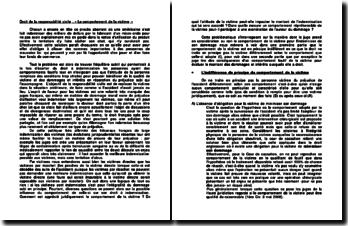 Droit de la responsabilité civile: « Le comportement de la victime ».