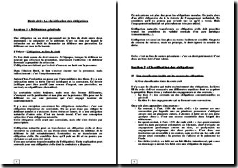 Droit civil: la classification des obligations