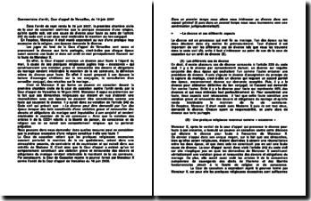 Commentaire d'arrêt, Cour d'appel de Versailles, du 19 juin 2007