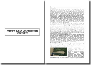 Rapport sur la multiplication végétative