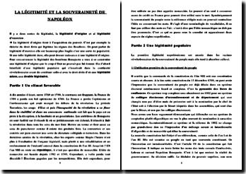 La légitimité et la souveraineté de Napoléon