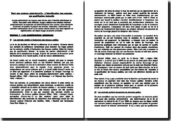 Droit des contrats administratifs: l'identification des contrats par qualification textuelle