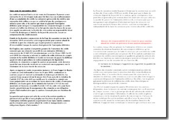 Cour de Cassation, Chambre commerciale, 16 novembre 2010: la responsabilité pour soutien abusif de crédit de la part du créancier