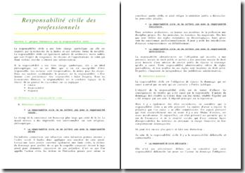 La rResponsabilité civile des professionnels