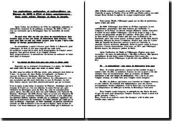 Les aspirations nationales et nationalistes en Europe de 1850 à 1914 et leurs conséquences dans cette même Europe et dans le monde