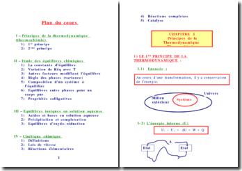Les principes de la thermodynamique (thermochimie)