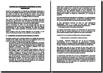 L'identité des collectivités territoriales en droit administratif