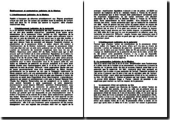 Établissement et contestation judiciaire de la filiation