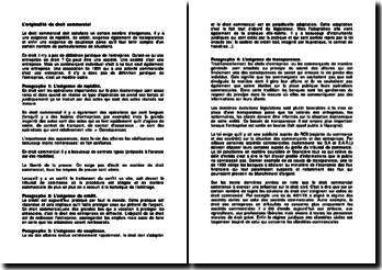 Loriginalité Du Droit Commercial