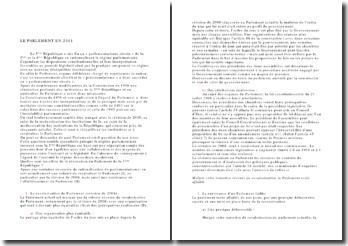Droit constitutionnel : le parlement de 2011