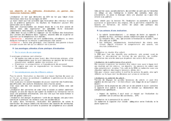 Les objectifs et les méthodes d'évaluation en gestion des ressources humaines (GRH)
