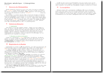 Biochimie métabolique : l'hémoglobine