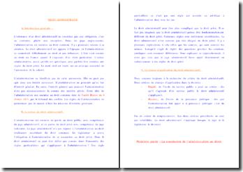 Les sources du droit administratif, les formes du contrôle juridictionnel et les principes de l'adminsitration