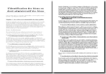 L'identification des biens en droit administratif des biens