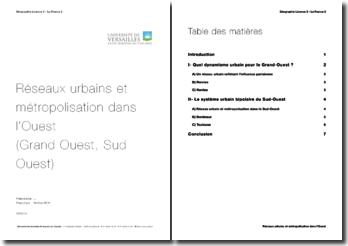 Réseaux urbains et métropolisation dans l'Ouest (Grand Ouest, Sud Ouest)