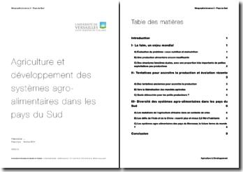 Agriculture et développement des systèmes agroalimentaires dans les pays du Sud