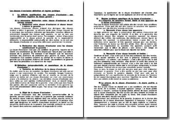 Les clauses d'exclusion: définition et régime juridique