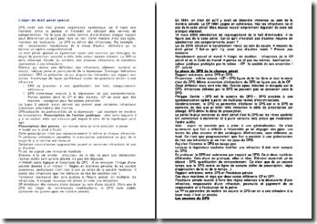 L'objet du droit pénal spécial (DPS)