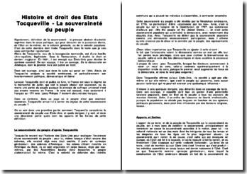 Histoire et droit des Etats: La souveraineté du peuple - Tocqueville