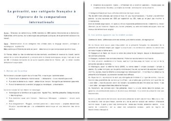 La précarité, une catégorie française à l'épreuve de la comparaison internationale