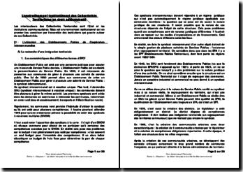 L'environnement institutionnel des Collectivités territoriales en droit administratif