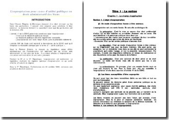 L'expropriation pour cause d'utilité publique en droit administratif des biens
