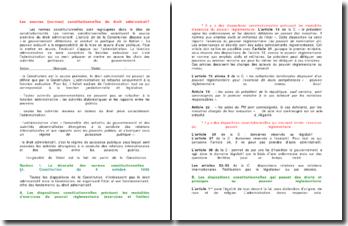 Les sources (normes) constitutionnelles du droit administratif