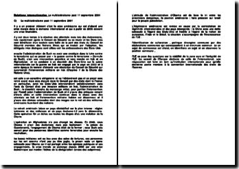 Relations internationales: le multilatéralisme post 11 septembre 2001