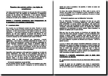 Passation des contrats publics: les règles de compétences