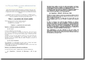 Les travaux publics en droit administratif des biens