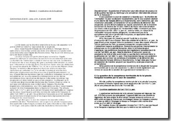 L'application de la loi pénale: cass. crim. 4 janvier 2005