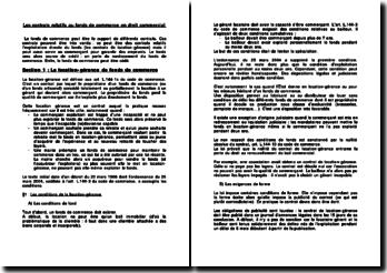 Les contrats relatifs au fonds de commerce en droit commercial