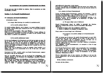 Les instruments de la garantie Constitutionnelle des Droits