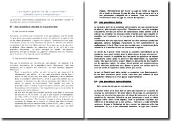 Les règles générales de la procédure administrative contentieuse