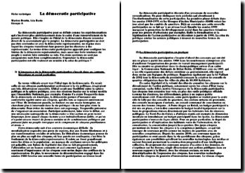 La démocratie participative - émergence dans un contexte historique et social particulier, pratique et limites