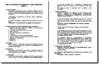 Aide à la rédaction d'un Mémoire, étude supérieure BAC+3