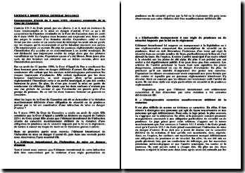 Commentaire d'arrêt du 9 mars 1999, chambre criminelle de la Cour de Cassation