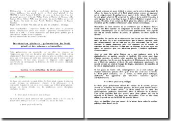 Droit pénal et des sciences criminelles - éléments légal, matériel et moral