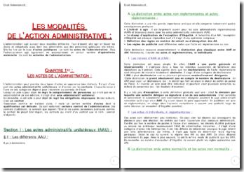 Les modalités de l'action administrative