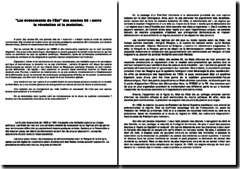 Les événements de l'Est des années 90 : entre la révolution et la mutation