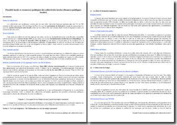 Fiscalité locale et ressources publiques des collectivités locales (finances publiques locales)