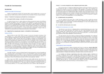La fiscalité de l'environnement - places dans les droits français et communautaires et principales composantes