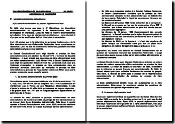 Les distributions de compétences en droit administratif territorial