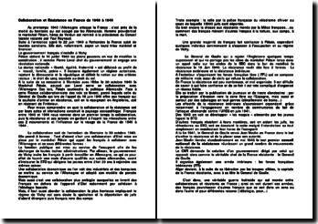 Collaboration et Résistance en France de 1940 à 1944