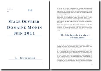 Rapport de stage d'un mois passé dans une PME viticole: le Domaine Monin