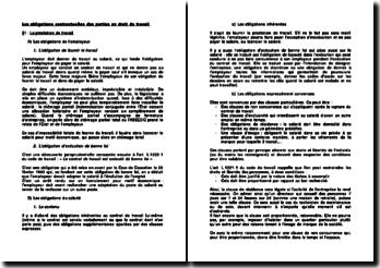 Les obligations contractuelles des parties en droit du travail