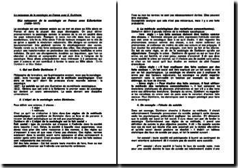 La naissance de la sociologie en France avec E. Durkheim